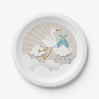 Stork + Clouds With Blue Bundle Boy Baby Shower Paper Plate