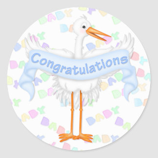 Stork Congratulations Sticker (Blue)