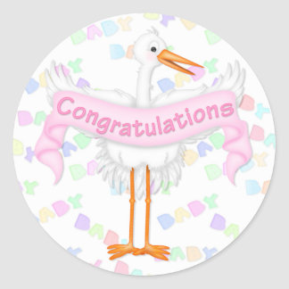 Stork Congratulations Sticker (Pink)
