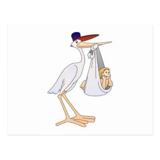 Stork Delivering a Baby Postcard
