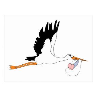 Stork delivering Baby Postcard
