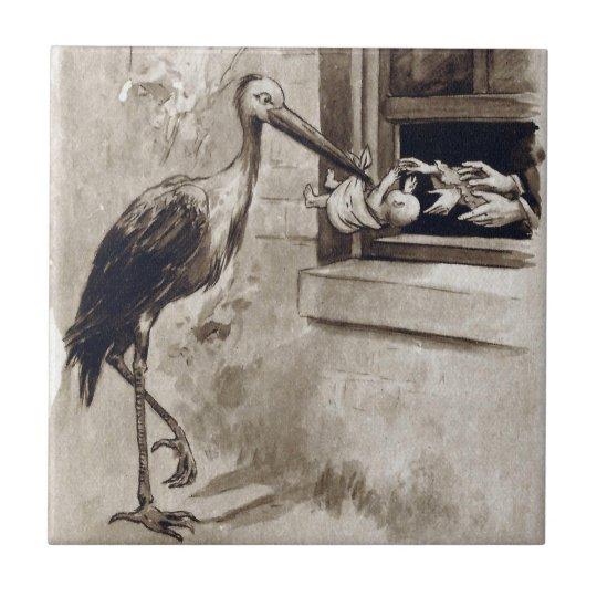 Stork Delivering Baby Vintage Tile