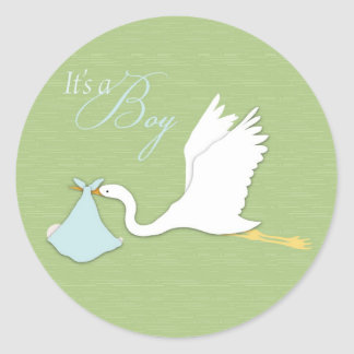 Stork Delivers Boy Sticker