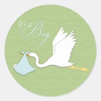 Stork Delivers Boy Sticker