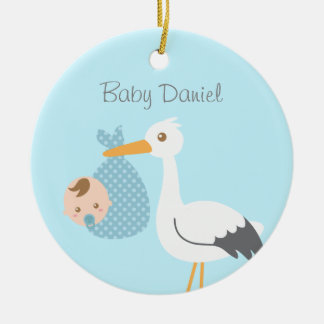 Stork Delivers Cute Baby Boy Nursery Room Decor Round Ceramic Decoration