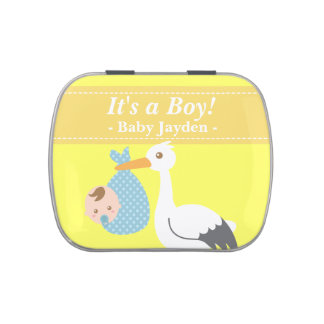 Stork Delivers Cute Baby Boy Jelly Belly Candy Tins