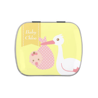 Stork Delivers Cute Baby Girl Party Keepsake Jelly Belly Tin