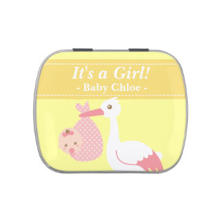 Stork Delivers Cute Baby Girl Party Keepsake Jelly Belly Tins