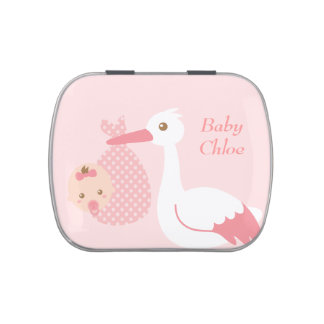 Stork Delivers Cute Baby Girl Party Keepsake Candy Tins