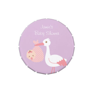 Stork Delivers Cute Baby Girl Shower Party Treats Jelly Belly Tin