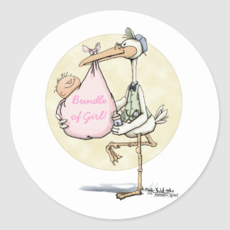 Stork Delivers Girl Stickers