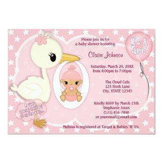 Stork Delivery baby shower invitation GIRL PINK 1B