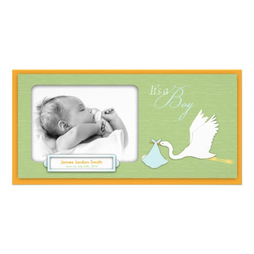 Stork Delivery Boy Photo Card