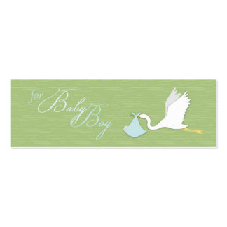 Stork Delivery Boy Skinny Gift Tag Pack Of Skinny Business Cards