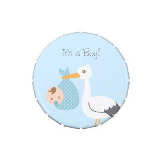 Stork Delivery Cute Baby Boy Shower Party Treats Jelly Belly Tin