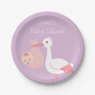 Stork Delivery Cute Baby Girl Shower Party 7 Inch Paper Plate
