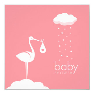 Stork Delivery Girl Baby Shower Invitation