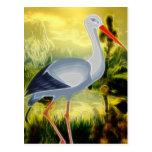 Stork Folk Art Postcard