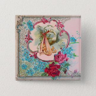 STORK GIRL BABY SHOWER /PINK ROSES BLUE FLOWERS 15 CM SQUARE BADGE