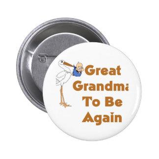 Stork Great Grandma To Be Again 6 Cm Round Badge