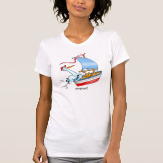 Stork in Sailing Boat Expecting Baby - T-shirt