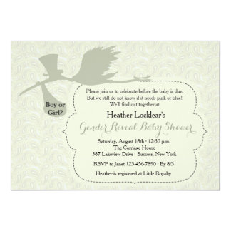 Stork is on the Way Gender Reveal Baby Shower 13 Cm X 18 Cm Invitation Card
