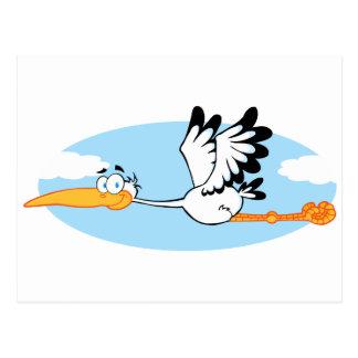 Stork Mascot Cartoon Character Postcard