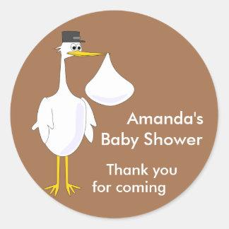 Stork Mocha Round Sticker