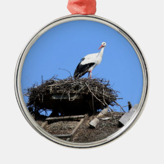 Stork on nest Silver-Colored round decoration