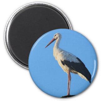 Stork on pole 6 cm round magnet