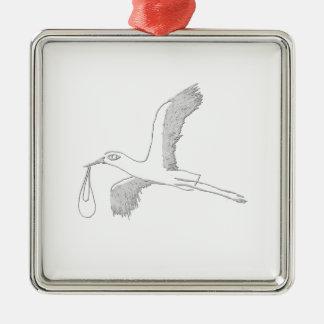 stork Silver-Colored square decoration