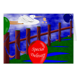 Stork Special Delivery Baby Announcement Greeting Card