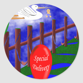 Stork Special Delivery Baby Announcement Round Sticker