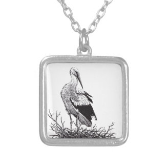 stork standing in nest pen & ink bird drawing square pendant necklace