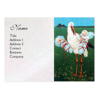 STORK TWIN BABY BOY SHOWER , white pearl paper Pack Of Chubby Business Cards