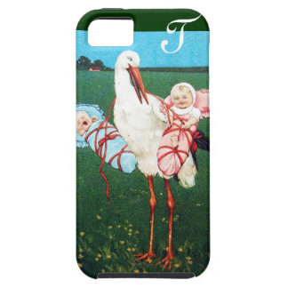 STORK TWIN BABY SHOWER MONOGRAM CASE FOR THE iPhone 5