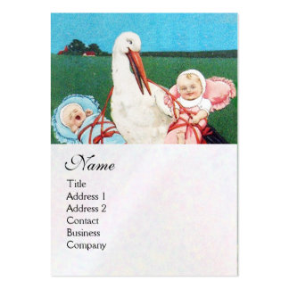 STORK TWIN BABY SHOWER MONOGRAM, white pearl paper Pack Of Chubby Business Cards