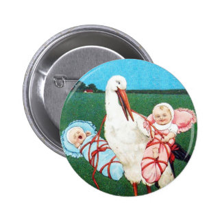 STORK TWIN BABY SHOWER, Pink ,Teal Blue 6 Cm Round Badge
