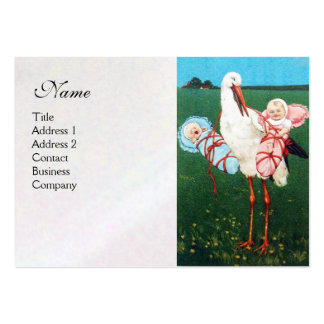 STORK TWIN BABY SHOWER white pearl paper Business Card Template
