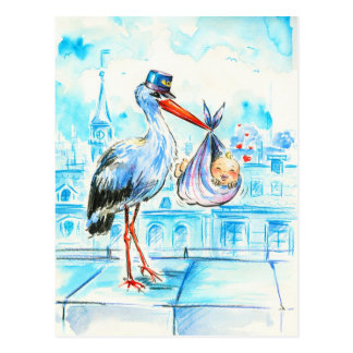 Stork with baby postcard