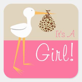 Stork With Giraffe Print Bundle It's A Girl Square Sticker