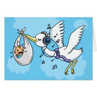 Stork with headphones deliverers boy baby