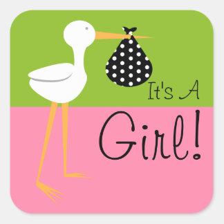 Stork with Polka Dot Bundle It's A Girl Square Sticker