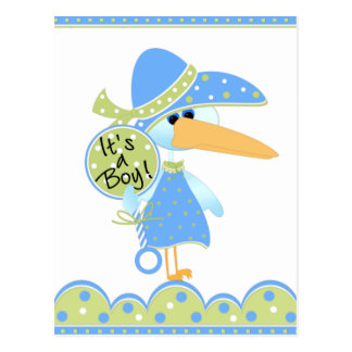 Stork With Rattle It's a Boy Cards Postcard