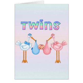 Stork with Twins Card