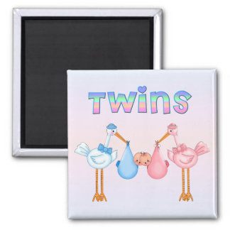 Stork with Twins Square Magnet