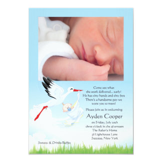 Stork's Early Delivery Photo Post Baby Shower 13 Cm X 18 Cm Invitation Card