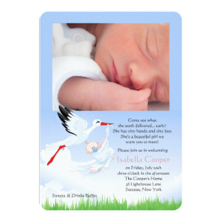 Stork's Early Delivery Photo Post Baby Shower Girl 13 Cm X 18 Cm Invitation Card