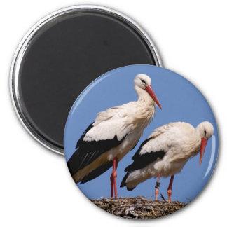 Storks nest 6 cm round magnet