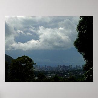 Storm Approaching Waikiki Poster